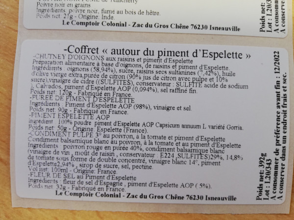 COFFRET AUTOUR DU PIMENT D'ESPELETTE