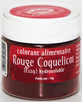 COLORANT ALIMENTAIRE ROUGE COQUELICOT (E129) HYDROSOLUBLE